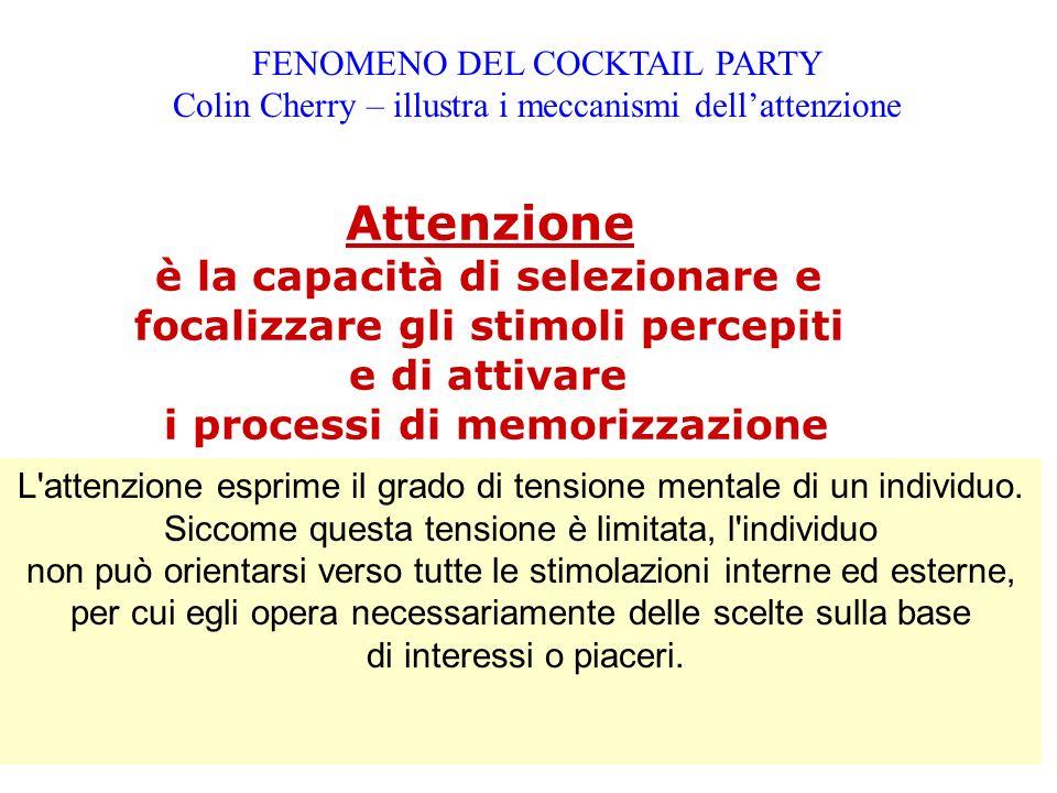FENOMENO DEL COCKTAIL PARTY Colin Cherry – illustra i meccanismi dellattenzione L'attenzione esprime il grado di tensione mentale di un individuo. Sic