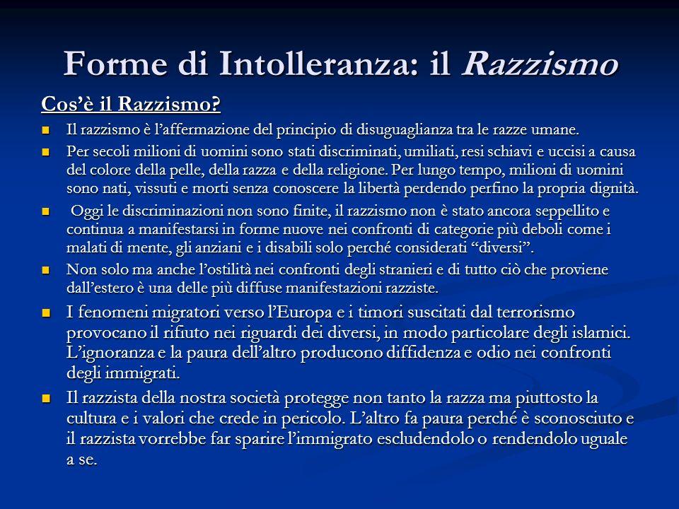 Forme di Intolleranza: il Razzismo Cosè il Razzismo? Il razzismo è laffermazione del principio di disuguaglianza tra le razze umane. Il razzismo è laf
