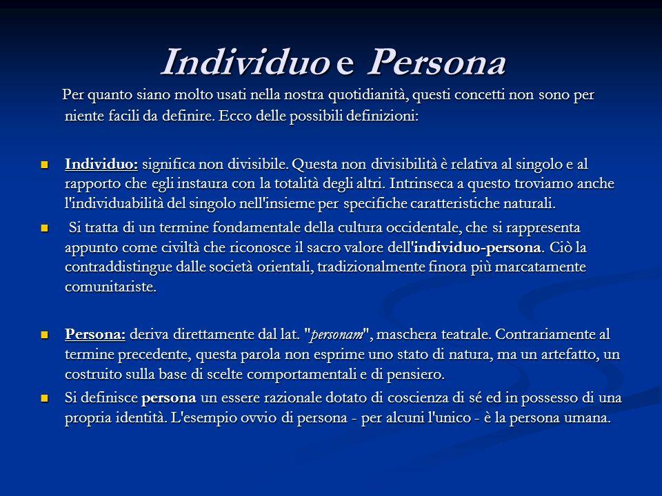 Individuo e Persona Per quanto siano molto usati nella nostra quotidianità, questi concetti non sono per niente facili da definire. Ecco delle possibi