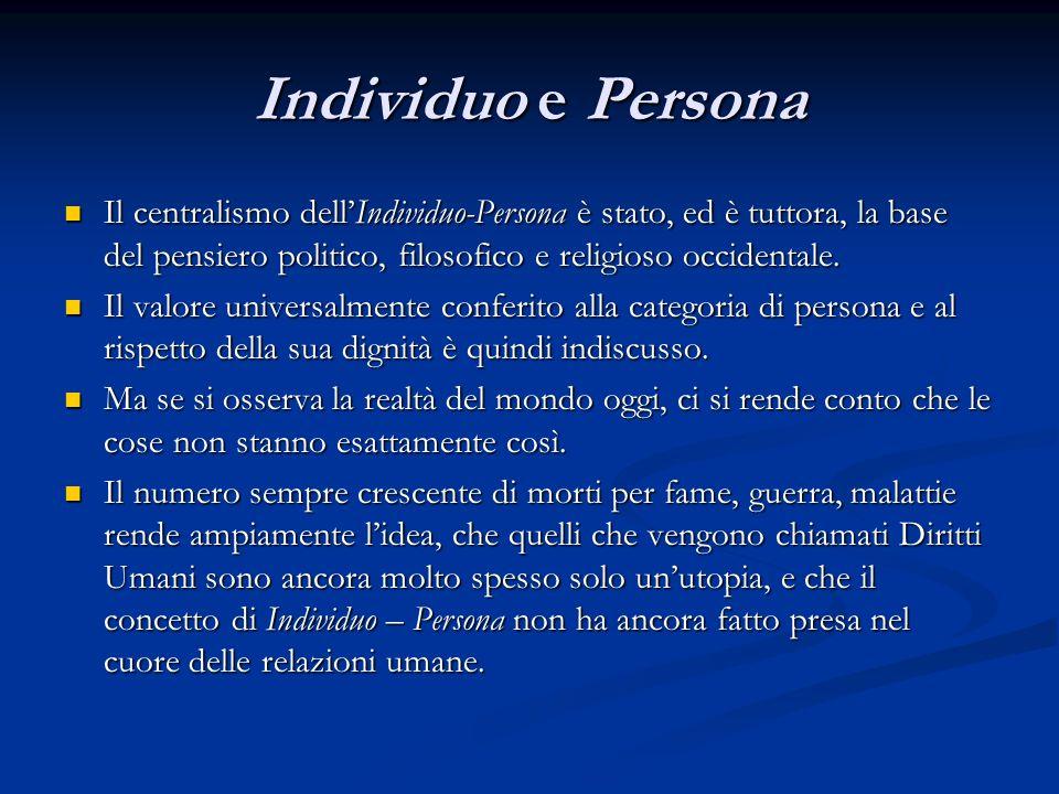 Individuo e Persona Il centralismo dellIndividuo-Persona è stato, ed è tuttora, la base del pensiero politico, filosofico e religioso occidentale. Il