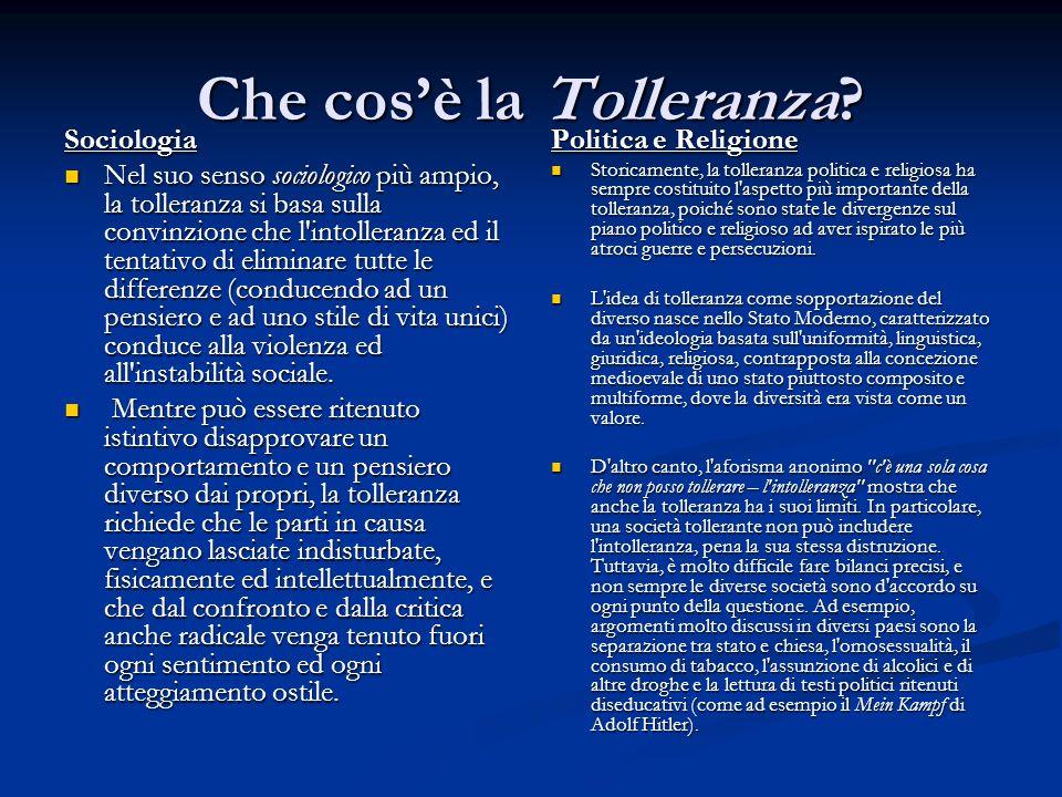 Che cosè la Tolleranza? Sociologia Nel suo senso sociologico più ampio, la tolleranza si basa sulla convinzione che l'intolleranza ed il tentativo di