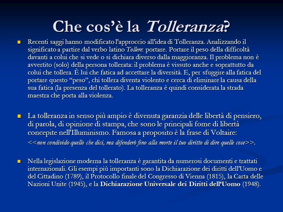 Che cosè la Tolleranza? Recenti saggi hanno modificato l'approccio all'idea di Tolleranza. Analizzando il significato a partire dal verbo latino Tolle