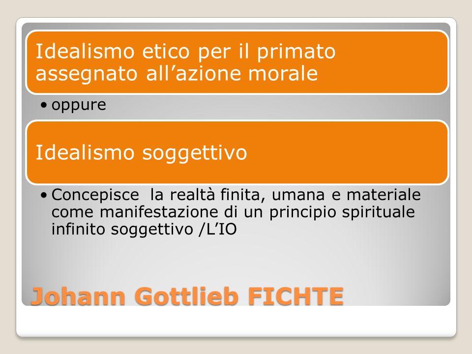 Johann Gottlieb FICHTE Idealismo etico per il primato assegnato allazione morale oppure Idealismo soggettivo Concepisce la realtà finita, umana e mate