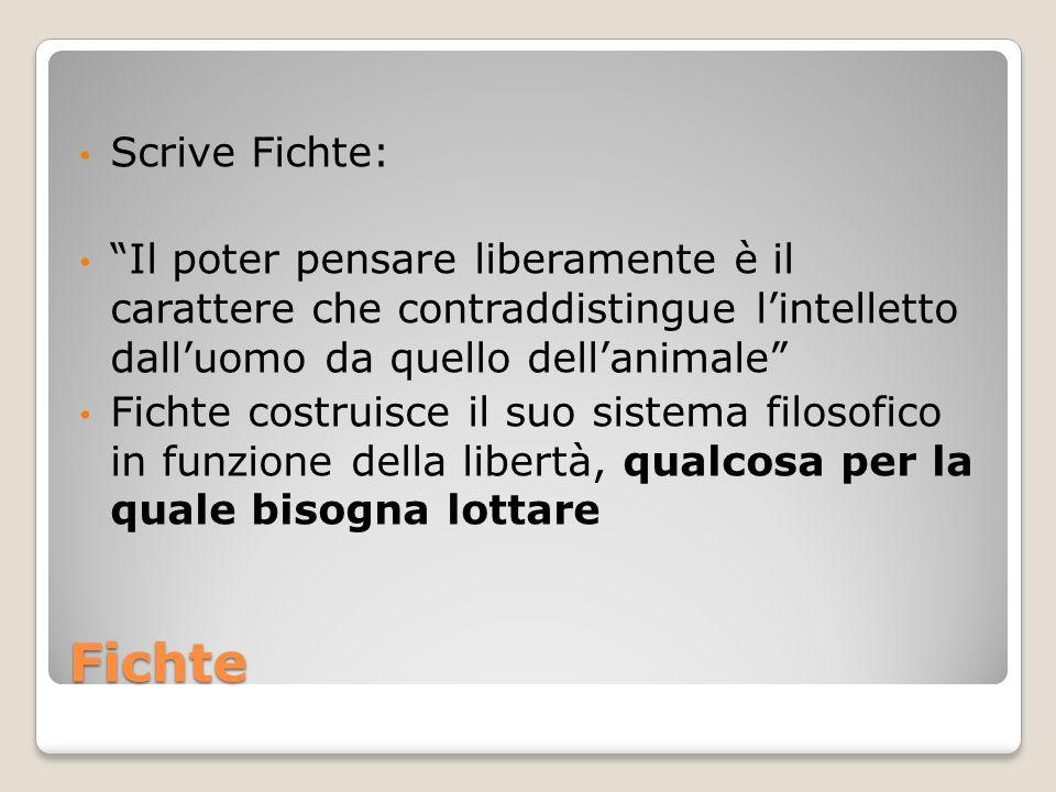 Fichte Scrive Fichte: Il poter pensare liberamente è il carattere che contraddistingue lintelletto dalluomo da quello dellanimale Fichte costruisce il