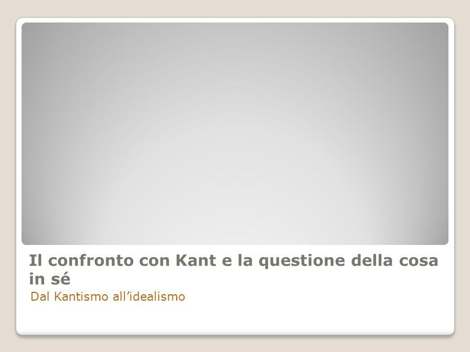 Il confronto con Kant e la questione della cosa in sé Dal Kantismo allidealismo
