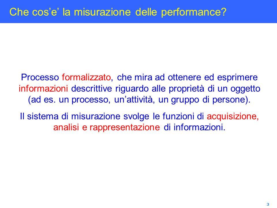 3 Che cose la misurazione delle performance? Processo formalizzato, che mira ad ottenere ed esprimere informazioni descrittive riguardo alle proprietà