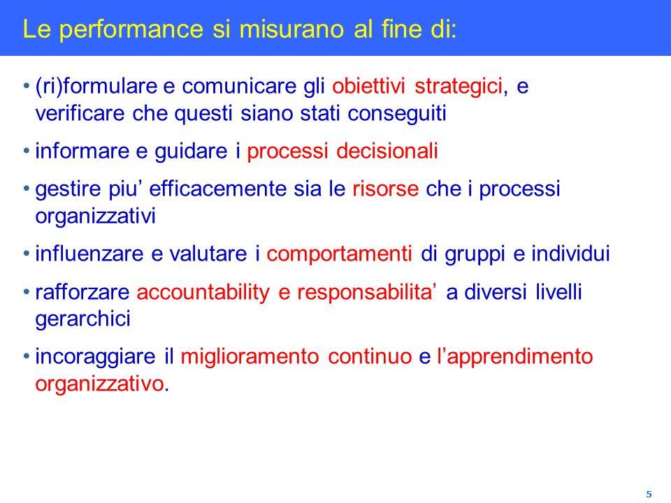 5 Le performance si misurano al fine di: (ri)formulare e comunicare gli obiettivi strategici, e verificare che questi siano stati conseguiti informare