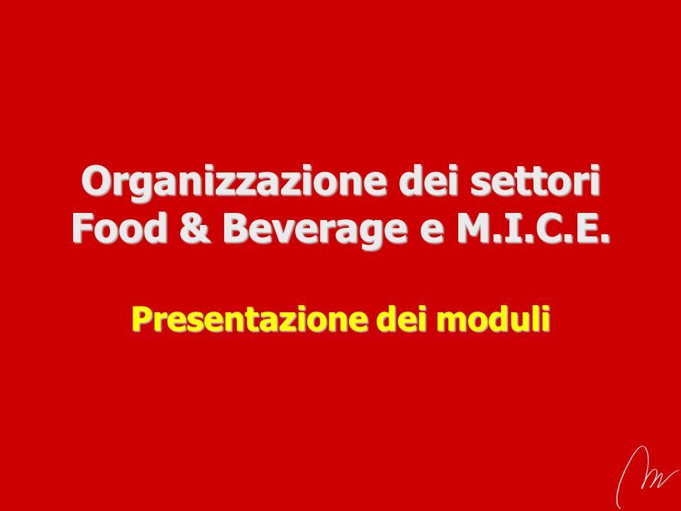 Organizzazione dei settori Food & Beverage e M.I.C.E. Presentazione dei moduli