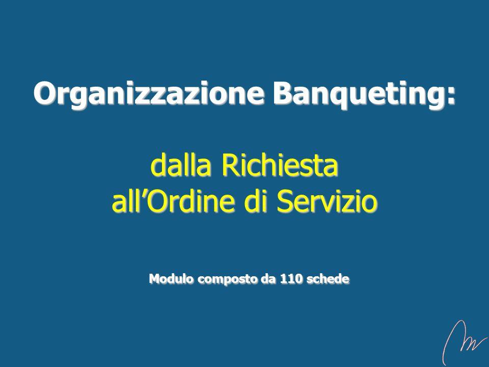 Organizzazione Banqueting: dalla Richiesta allOrdine di Servizio Modulo composto da 110 schede