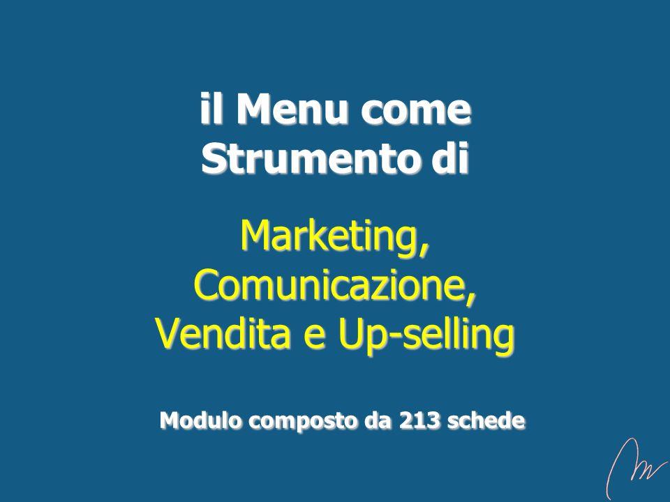 il Menu come Strumento di Marketing, Comunicazione, Vendita e Up-selling Modulo composto da 213 schede