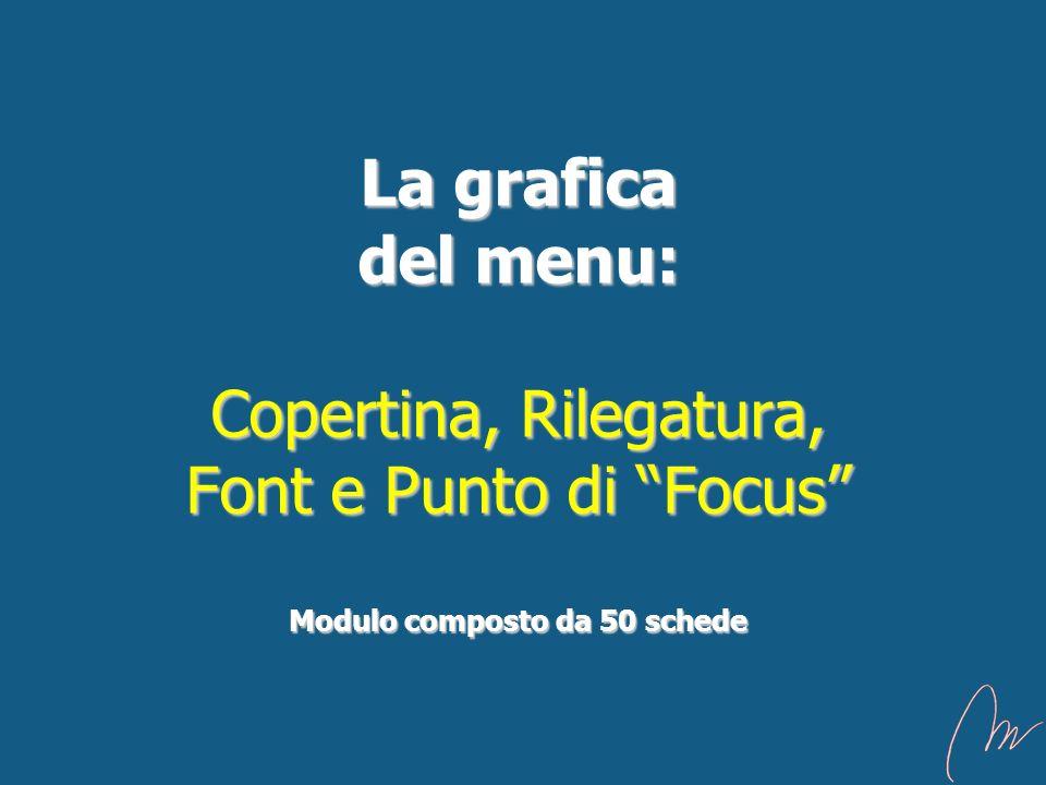 La grafica del menu: Copertina, Rilegatura, Font e Punto di Focus Modulo composto da 50 schede