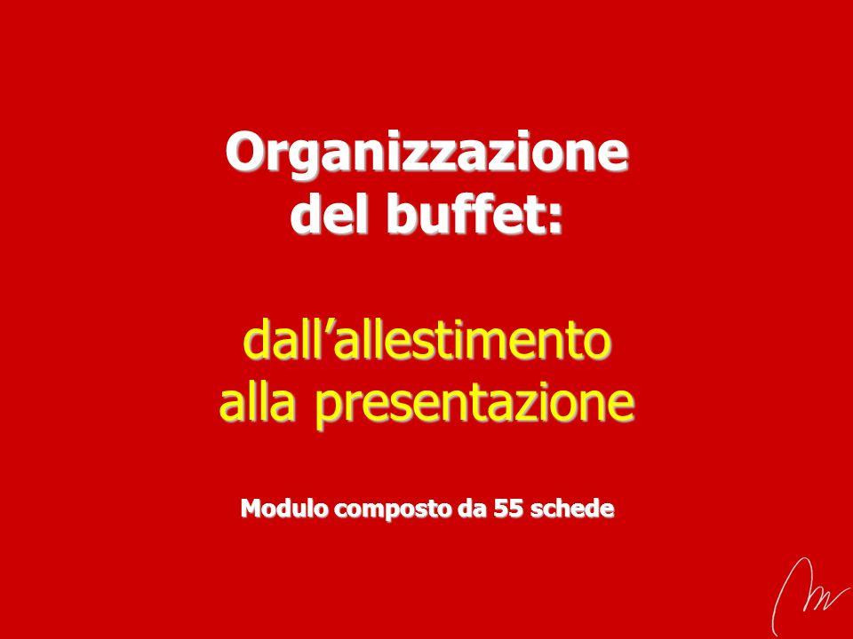 Organizzazione del buffet: dallallestimento alla presentazione Modulo composto da 55 schede