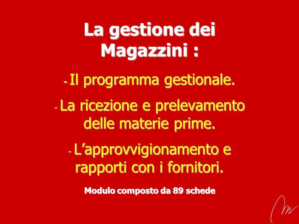 La gestione dei Magazzini : - Il programma gestionale. - La ricezione e prelevamento delle materie prime. - Lapprovvigionamento e rapporti con i forni