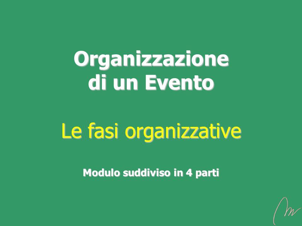 Organizzazione di un Evento Le fasi organizzative Modulo suddiviso in 4 parti