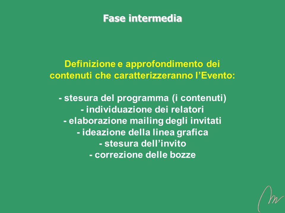 Definizione e approfondimento dei contenuti che caratterizzeranno lEvento: - stesura del programma (i contenuti) - individuazione dei relatori - elabo