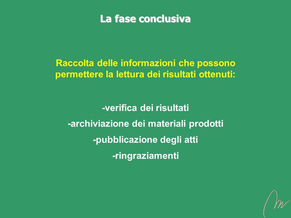 La fase conclusiva Raccolta delle informazioni che possono permettere la lettura dei risultati ottenuti: -verifica dei risultati -archiviazione dei ma