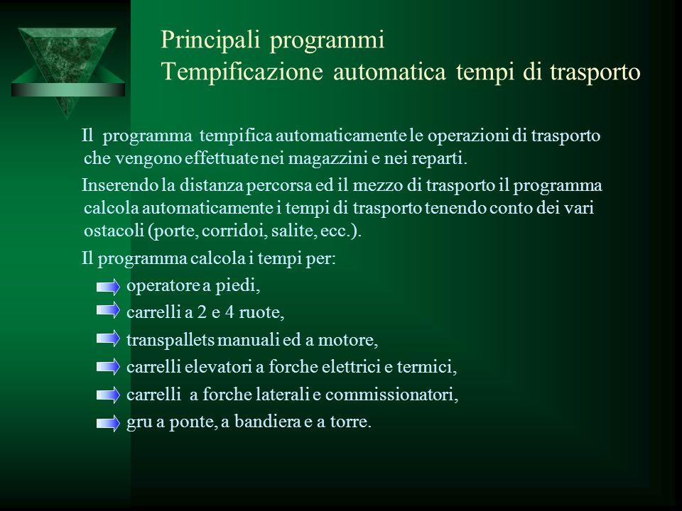 Principali programmi Tempificazione automatica tempi di trasporto Il programma tempifica automaticamente le operazioni di trasporto che vengono effett
