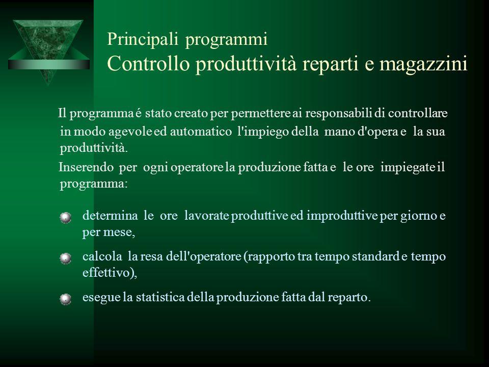 Principali programmi Controllo produttività reparti e magazzini Il programma é stato creato per permettere ai responsabili di controllare in modo agev