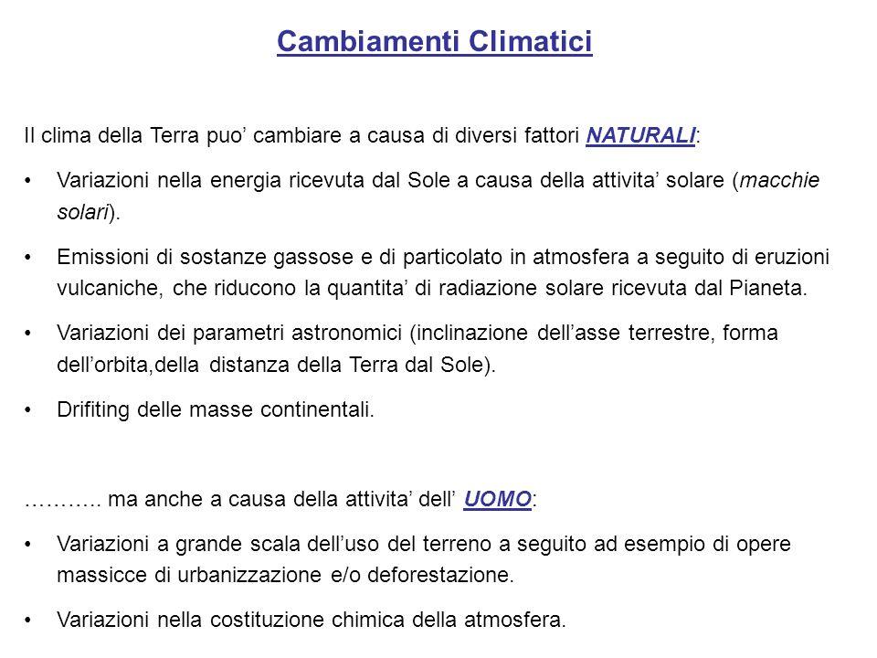 Cambiamenti Climatici Il clima della Terra puo cambiare a causa di diversi fattori NATURALI: Variazioni nella energia ricevuta dal Sole a causa della