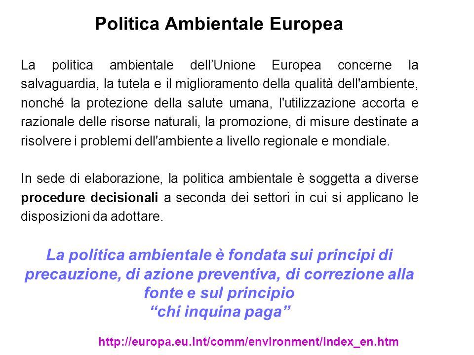 Politica Ambientale Europea La politica ambientale dellUnione Europea concerne la salvaguardia, la tutela e il miglioramento della qualità dell'ambien