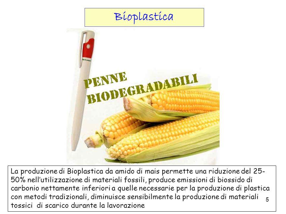 5 La produzione di Bioplastica da amido di mais permette una riduzione del 25- 50% nellutilizzazione di materiali fossili, produce emissioni di biossi
