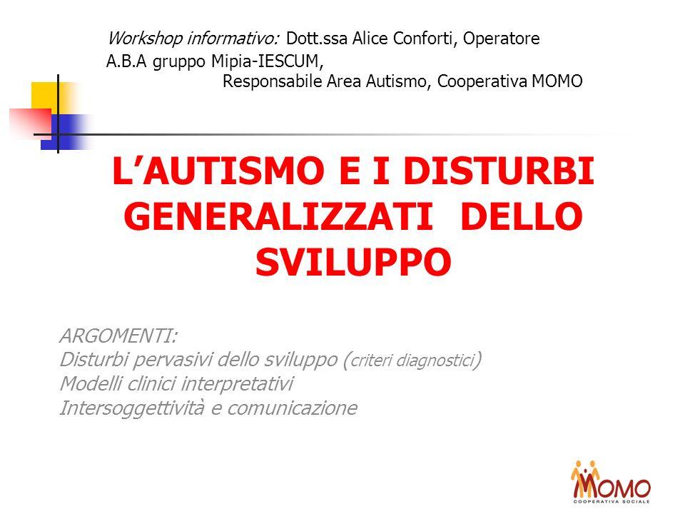 LAUTISMO E I DISTURBI GENERALIZZATI DELLO SVILUPPO ARGOMENTI: Disturbi pervasivi dello sviluppo ( criteri diagnostici ) Modelli clinici interpretativi