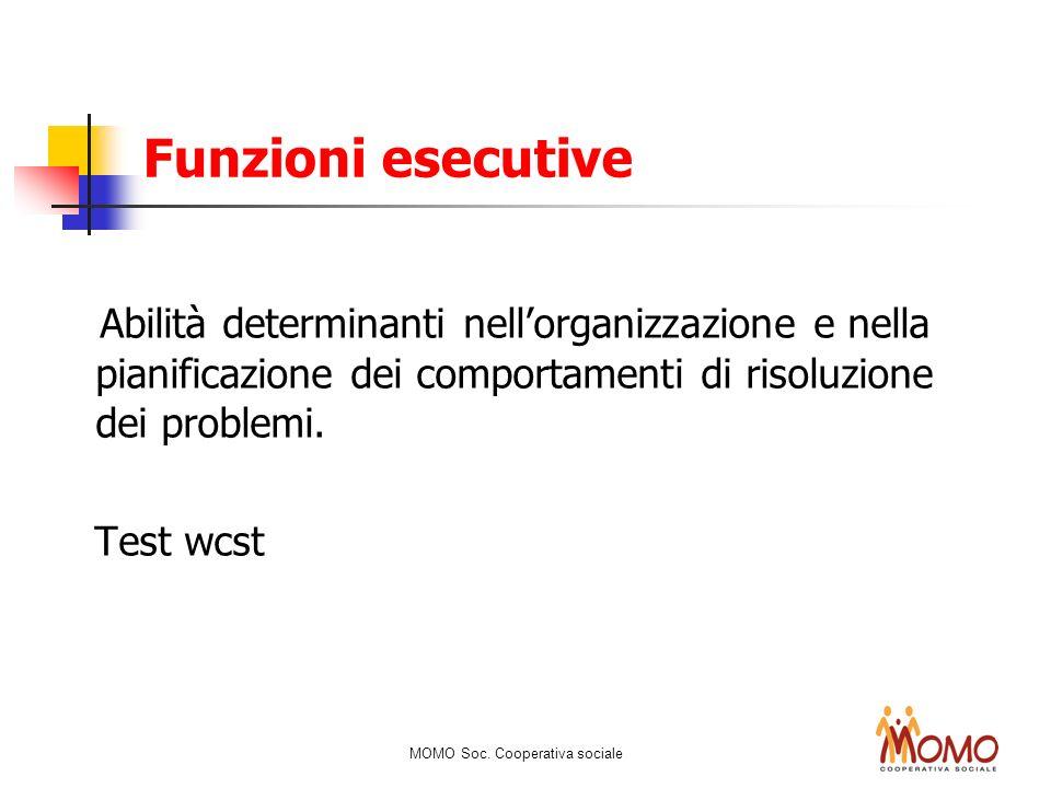 Funzioni esecutive Abilità determinanti nellorganizzazione e nella pianificazione dei comportamenti di risoluzione dei problemi. Test wcst MOMO Soc. C