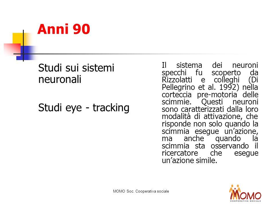 Anni 90 Studi sui sistemi neuronali Studi eye - tracking Il sistema dei neuroni specchi fu scoperto da Rizzolatti e colleghi (Di Pellegrino et al. 199