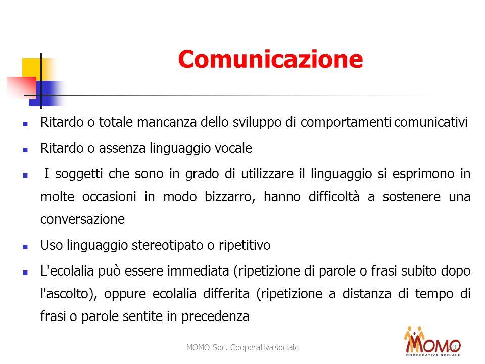MOMO Soc. Cooperativa sociale 30 Comunicazione Ritardo o totale mancanza dello sviluppo di comportamenti comunicativi Ritardo o assenza linguaggio voc