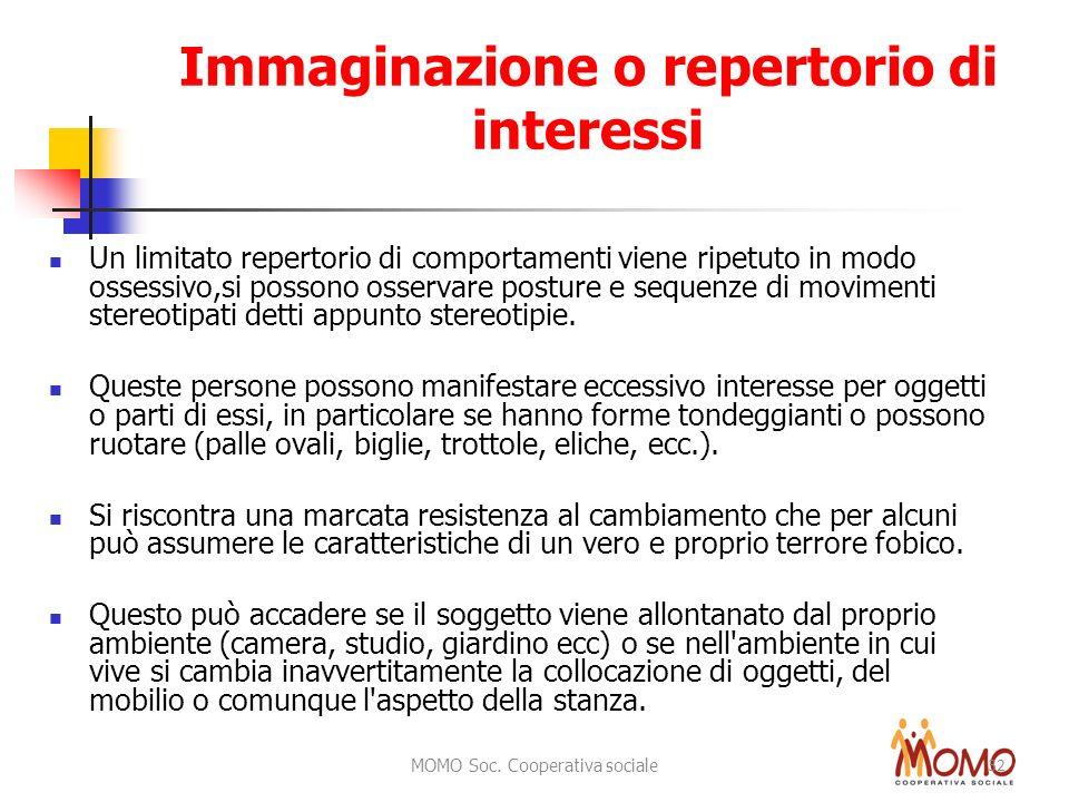 MOMO Soc. Cooperativa sociale 32 Immaginazione o repertorio di interessi Un limitato repertorio di comportamenti viene ripetuto in modo ossessivo,si p