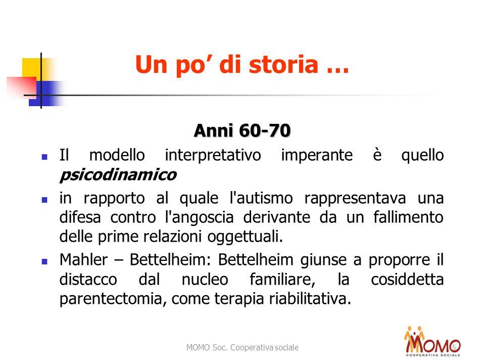 MOMO Soc. Cooperativa sociale 5 Anni 60-70 Il modello interpretativo imperante è quello psicodinamico in rapporto al quale l'autismo rappresentava una