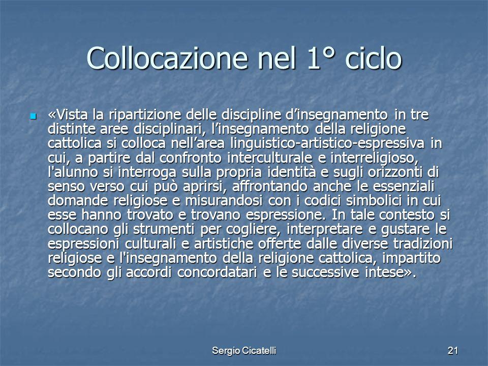 Sergio Cicatelli21 Collocazione nel 1° ciclo «Vista la ripartizione delle discipline dinsegnamento in tre distinte aree disciplinari, linsegnamento de