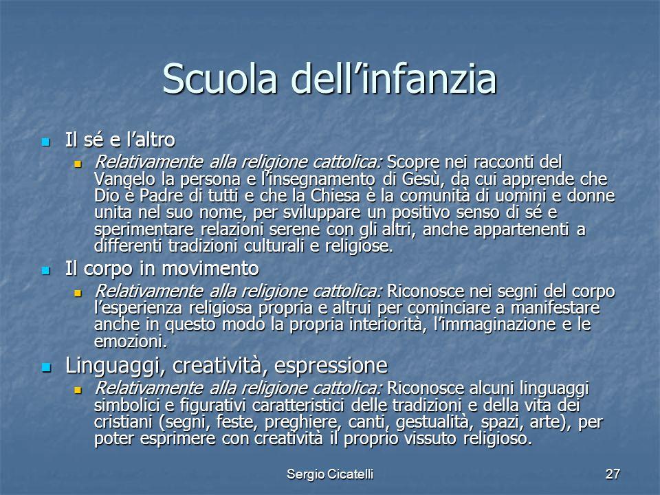 Sergio Cicatelli27 Scuola dellinfanzia Il sé e laltro Il sé e laltro Relativamente alla religione cattolica: Scopre nei racconti del Vangelo la person