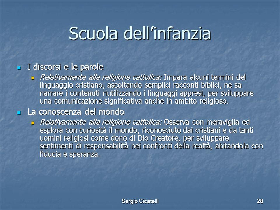 Sergio Cicatelli28 Scuola dellinfanzia I discorsi e le parole I discorsi e le parole Relativamente alla religione cattolica: Impara alcuni termini del
