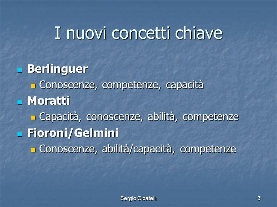 Sergio Cicatelli3 I nuovi concetti chiave Berlinguer Berlinguer Conoscenze, competenze, capacità Conoscenze, competenze, capacità Moratti Moratti Capa