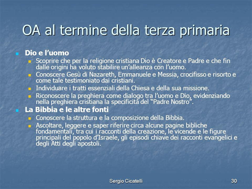 Sergio Cicatelli30 OA al termine della terza primaria Dio e luomo Scoprire che per la religione cristiana Dio è Creatore e Padre e che fin dalle origi