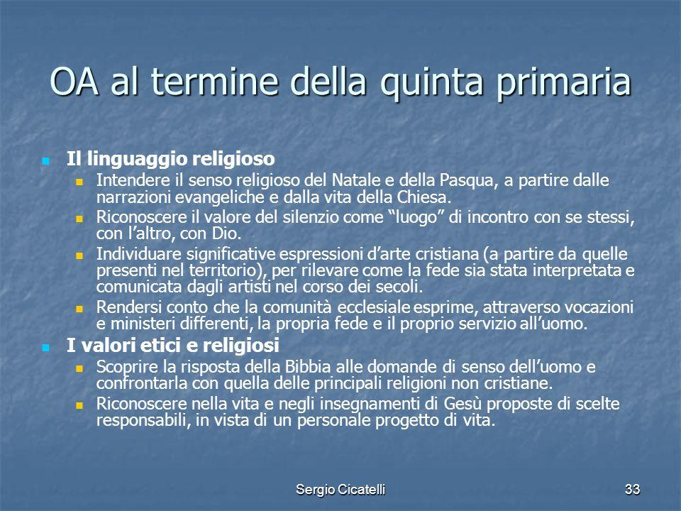 Sergio Cicatelli33 OA al termine della quinta primaria Il linguaggio religioso Intendere il senso religioso del Natale e della Pasqua, a partire dalle