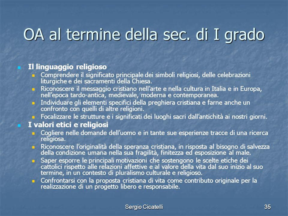Sergio Cicatelli35 OA al termine della sec. di I grado Il linguaggio religioso Comprendere il significato principale dei simboli religiosi, delle cele