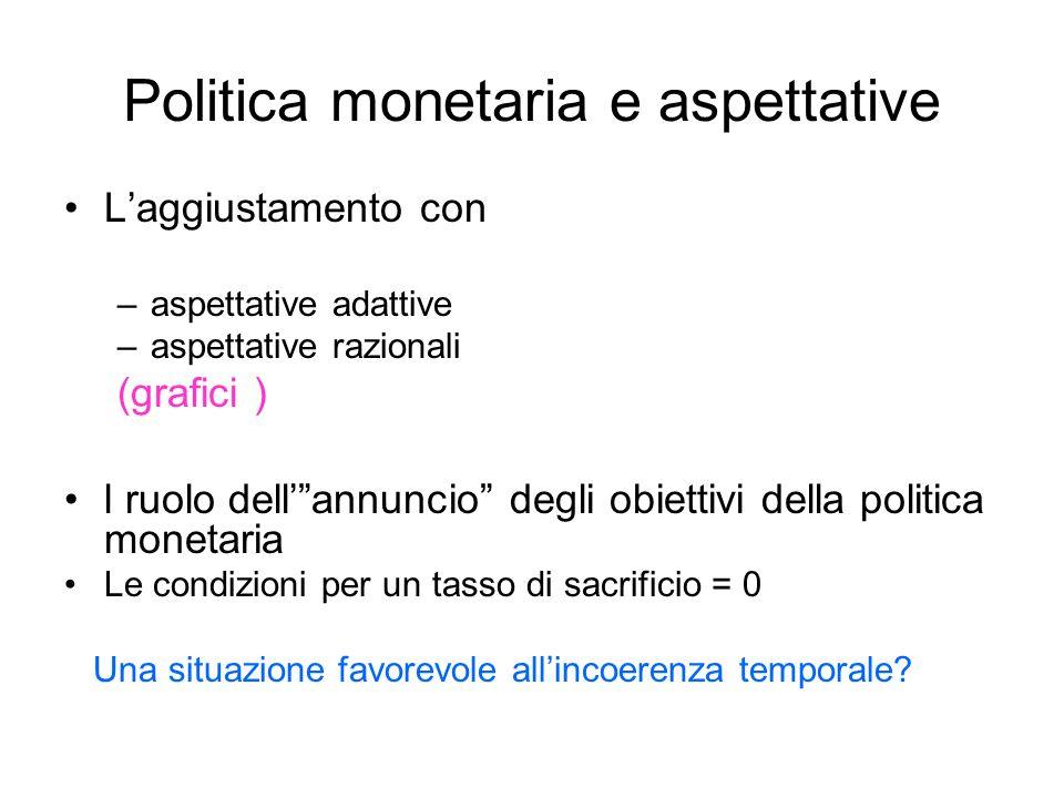 Politica monetaria e aspettative Laggiustamento con –aspettative adattive –aspettative razionali (grafici ) l ruolo dellannuncio degli obiettivi della