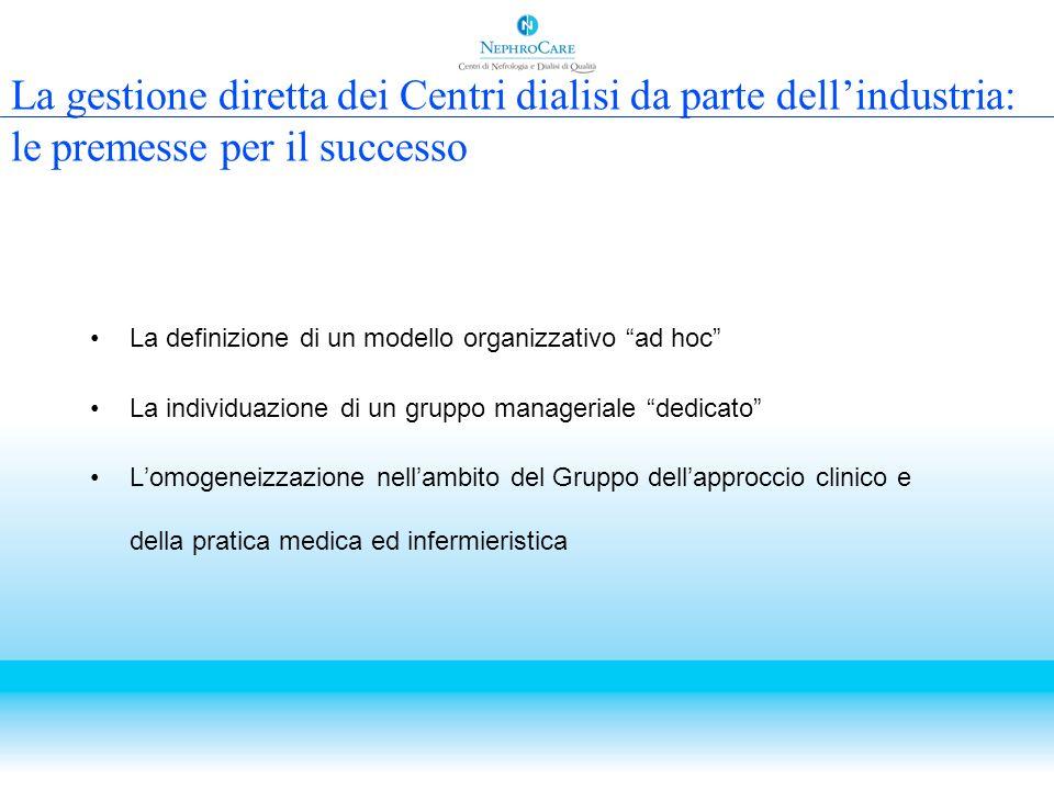La gestione diretta dei Centri dialisi da parte dellindustria: le premesse per il successo La definizione di un modello organizzativo ad hoc La indivi