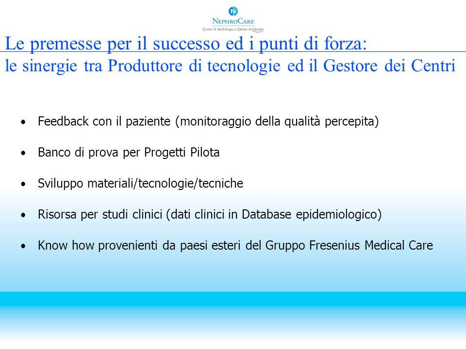 Le premesse per il successo ed i punti di forza: le sinergie tra Produttore di tecnologie ed il Gestore dei Centri Feedback con il paziente (monitorag