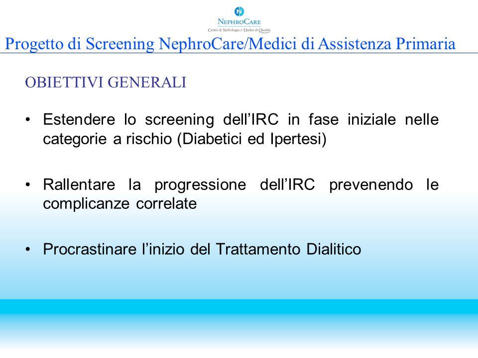 Estendere lo screening dellIRC in fase iniziale nelle categorie a rischio (Diabetici ed Ipertesi) Rallentare la progressione dellIRC prevenendo le com