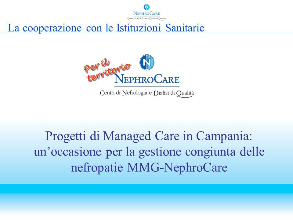 Progetti di Managed Care in Campania: unoccasione per la gestione congiunta delle nefropatie MMG-NephroCare Per il territorio La cooperazione con le I