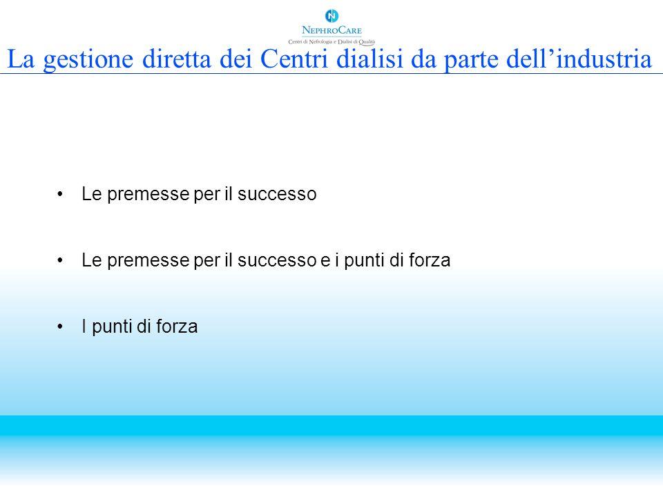 La gestione diretta dei Centri dialisi da parte dellindustria Le premesse per il successo Le premesse per il successo e i punti di forza I punti di fo