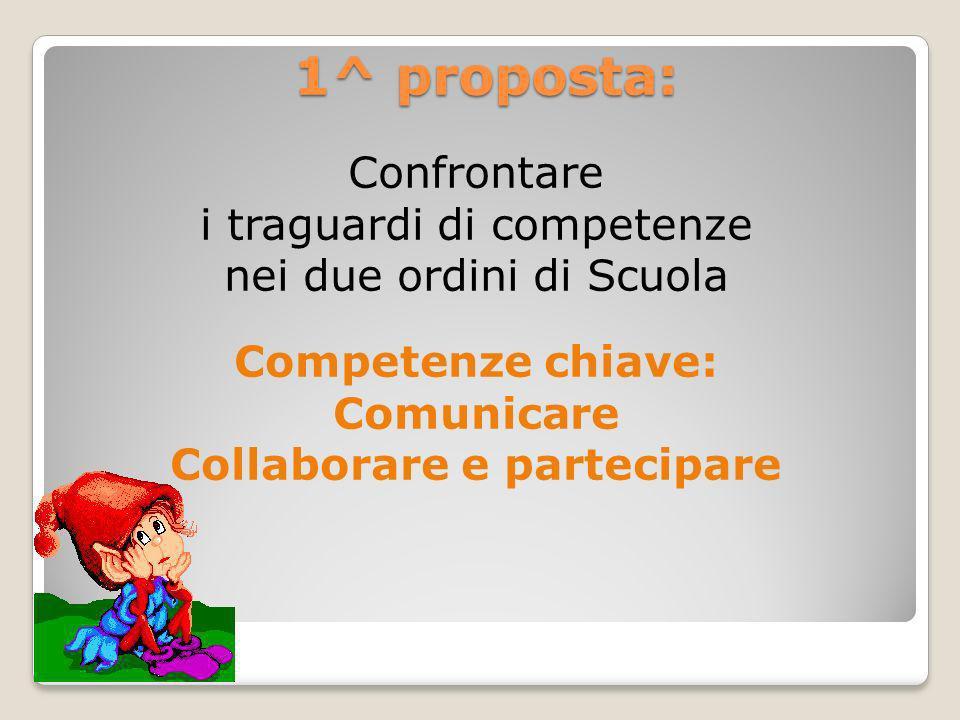 1^ proposta: Confrontare i traguardi di competenze nei due ordini di Scuola Competenze chiave: Comunicare Collaborare e partecipare
