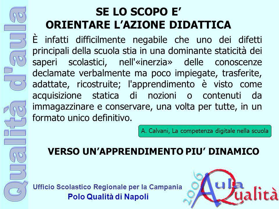 Ufficio Scolastico Regionale per la Campania Polo Qualità di Napoli SE LO SCOPO E ORIENTARE LAZIONE DIDATTICA È infatti difficilmente negabile che uno