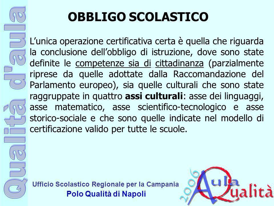 Ufficio Scolastico Regionale per la Campania Polo Qualità di Napoli OBBLIGO SCOLASTICO Lunica operazione certificativa certa è quella che riguarda la