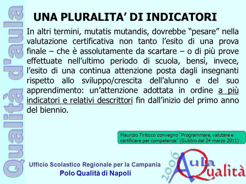 Ufficio Scolastico Regionale per la Campania Polo Qualità di Napoli In altri termini, mutatis mutandis, dovrebbe pesare nella valutazione certificativ