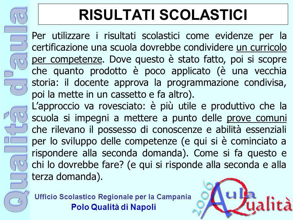 Ufficio Scolastico Regionale per la Campania Polo Qualità di Napoli RISULTATI SCOLASTICI Per utilizzare i risultati scolastici come evidenze per la ce