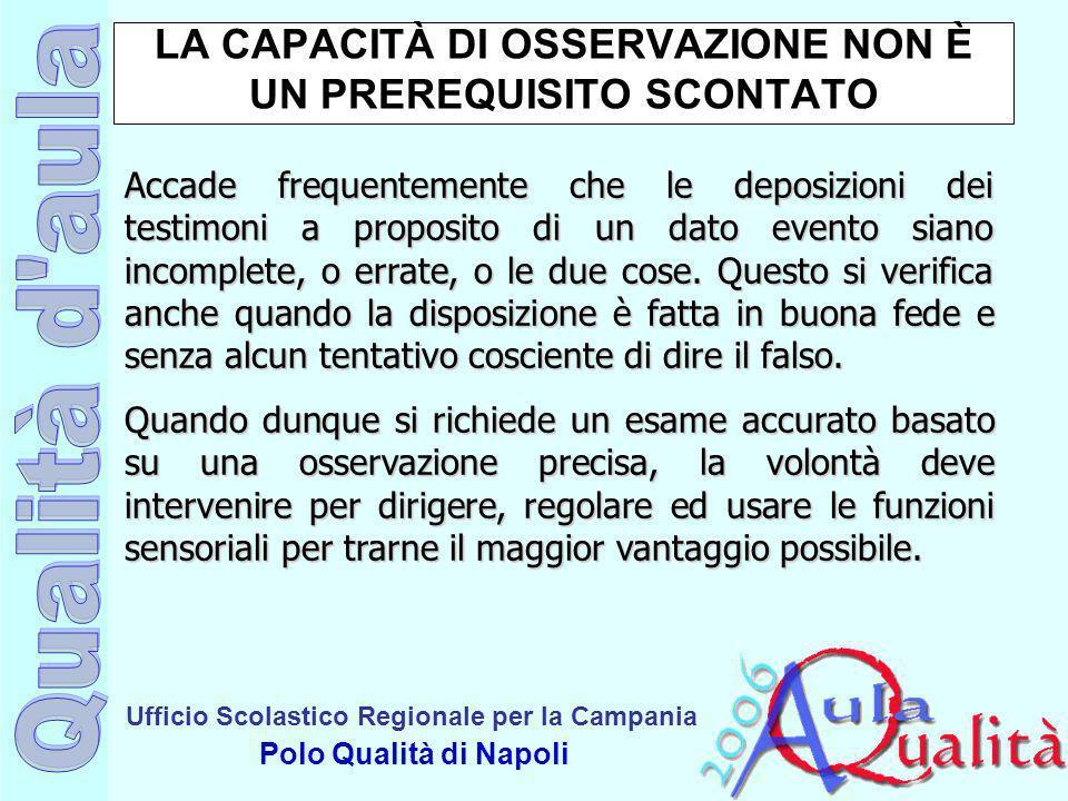 Ufficio Scolastico Regionale per la Campania Polo Qualità di Napoli LA CAPACITÀ DI OSSERVAZIONE NON È UN PREREQUISITO SCONTATO Accade frequentemente c